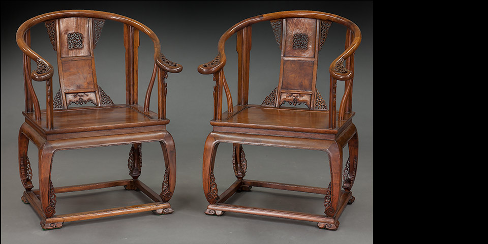 Pr. Chinese carved Huanghuali wood armchairs